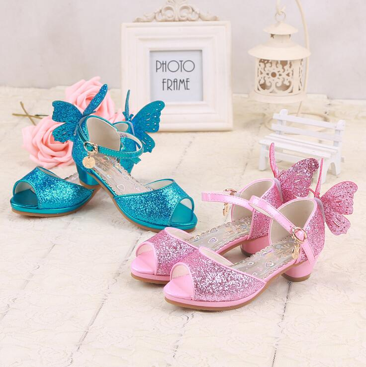 1pair Sandals 2017 summer princess crystal bling shoes with butterfly girls shoes Children big girl sandals 3colors 28-38<br><br>Aliexpress