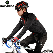 ROCKBROS Man Cycling Jersey Winter Fleece Thermal Warm Bicycle Jersey Windproof Anti-sweat ciclismo Rainproof Riding Bike Jacket