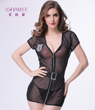 Buy IDARMEE Women Police Costumes Deep V-Neck Diaphanous Mesh Sexy Lingerie Babydolls Zipper Erotic Shirt Sleepwear S6496