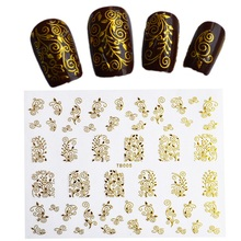 1Sheets Hot 3d Design 12.5x10.5cm Beauty Gold/Silver Stamping Decals Nail Art Tips Nail Stickers Glitter Decorations LATB001-006