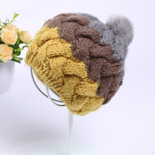 New Hot Autumn Winter Cony Fur Pom Fleece Lined Soft Contrast Color Striped Skullies Toboggans Beanies Thick Warm Women's Hat