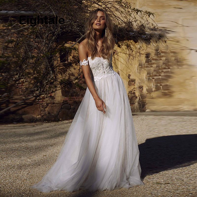 Eightale Boho Wedding Dress Sweetheart Appliques Lace A-Line with Detachable Strap Backless Bride Dress Beach Wedding Gowns