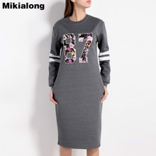 Mikialong Letter Printed Long Hoodie Dress Women 2017 Autumn Casual Long Sleeve Sweatshirt Pullover Moletom Feminino
