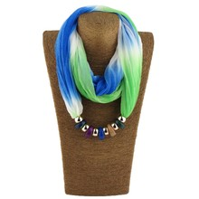Women Silk Scarf Necklace Resin beads Neckerchief Scarves Female Printed Silk Muffler Designer Scarfs(China)