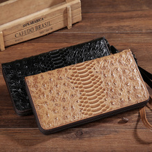 Ostrich Pattern Real Leather Money handbags clutch handbag male female Vintage Genuine Leather Cards Holder Money handbags Phone(China)