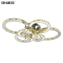 Surface Mounted Crystal Modern LED Ceiling Lights For Living Room Bedroom Luxury 8 Rings For Decorate Home Lamp 15-30 Meters(China)