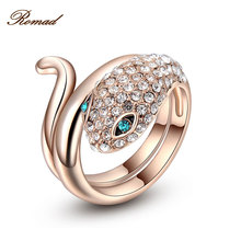 Buy Romad Brand Classic Zirconia Rose Gold Color Snake Ring Women Party Wedding Finger Rings Jewelry Size 6 7 8 for $2.06 in AliExpress store
