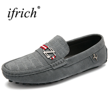 Cheap Mens Loafers Shoes Slip on Cow Suede Shoes Men Luxury Chinese Brand Leather Black Blue Driving Shoes Low Price(China)
