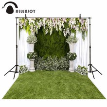 Allenjoy vinyl photographic background White grass flowers to celebrate the wedding backdrop photocall professional customize(China)