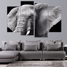 4 Piece Painting Large African Elephant Canvas Painting Print on Canvas Modern Artwork Picture for Home Decor Framed(China)