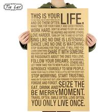 TIE LER World Popular Wall Sticker This Is Your Life Inspirational Word Kraft Paper Retro Poster Home Office Wall Sticker