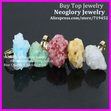 5PCS Natural Mix Color Druzy Stone Rings Drusy Quartz Rings,Coral Shape Druzy Glass Ring, In 24Kt Gold Women Adjustable Ring