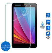 "9H Tempered Glass Screen Protector Film For Huawei Mediapad T2 7.0 BGO-DL09 BGO-L03 7"" + Alcohol Cloth + Dust Absorber(China)"