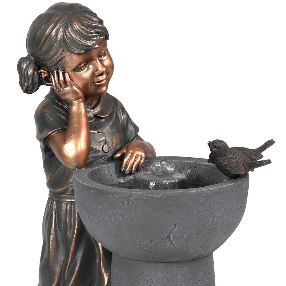 Sunnydaze Little Girl Admiring Water Spout Outdoor Water Fountain, 28 Inch Tall, Includes Electric Pump (5)