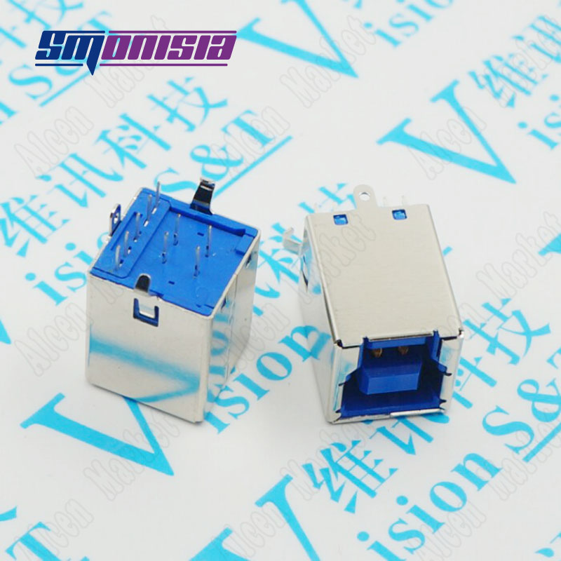 USB 3.0 B Female Socket High Speed Connector Printer Hard Drive Square Vertical BF Plug 180 Degree<br>
