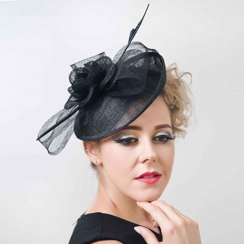Vintage Feather Headwear Lady Sinamay Sagittate Feather Fascinator Fuchsia Bride Wedding Fascinator Headband for Party Church<br><br>Aliexpress