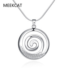 top quality free chain 925 stamped Silver Plated necklace Chain&pendant Fashion Jewelry Welcome Mixed Wholesale MEEKCAT(China)