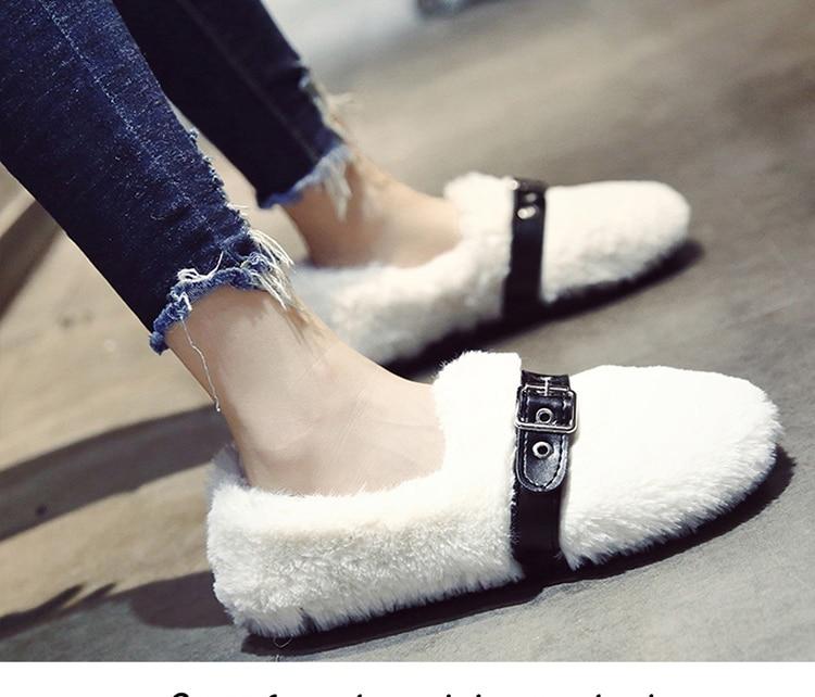 HXRZYZ ladies flats Plush shoes women flat shoes Spring/autumn fashion korean wild belt buckle furry loafers shoes woman
