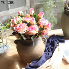 YO CHO 7 Pcs Real Touch Rose Velvet Silk Artificial Flower Peony Flower Bouquet For Wedding Table Accessory Home Decoration(China)