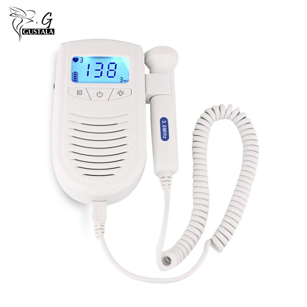 Gustala Fetal Doppler Detector LCD Digital Display Ultrasound Baby Doppler Heart Rate Monitor Pregnant Doppler<br>