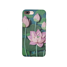 OKEECA TPU 3D Fashion Phone Case for iPhone 6 6s 6plus 6splus 7 7plus China Style Colorful Drawing Lotus 2017 Summer New Style