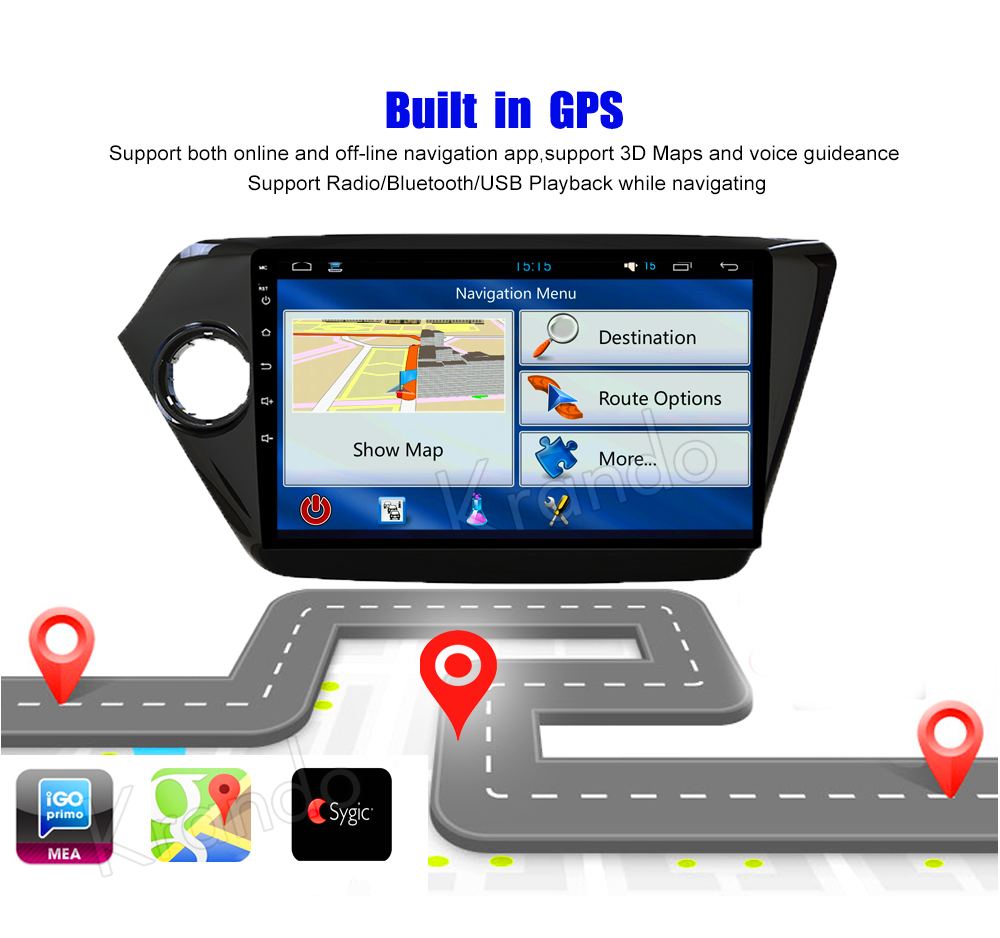 Krando Android car radio gps navigation multimedia system for KIA K2 2011 2012 2013 2014 2015 2016