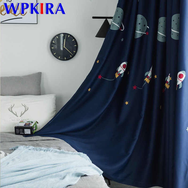 Cartoon Outer Space Pattern Blackout Curtain For Boys Children Bedroom Embroidered Luxury Fabric Tulle For Living Room FQ015D3