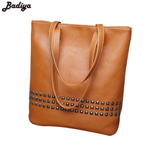 New 2017 Vintage Shoulder Bag Rivet Charms Accessories Solid Large Capacity Shopping Casual Tote Bolsas Women Leather Handbags(China)