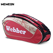 Professional Tennis Racket Bag Sports Badminton Shoulder Bag Tennis Bag for Men and Women for 3 to 6 Rackets with Shoes Storage(China)