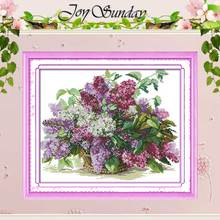 Free Ship!! Lilac Counted Cross Stitch 11 14CT Cross Stitch Sets Flowers Cross Stitch Kits for Embroidery Home Decor Needlework(China)