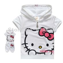 New arrival fashion cute hello kitty children clothing ,short sleeve T-shirt +pants children/kids suit, kids clothes