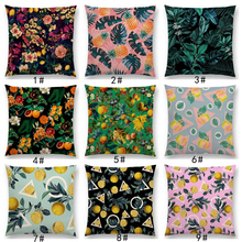 Latest Fruit Floral Leaf Prints Lemon Peach Pineapple Tropical Jungle Garden Vintage Car Sofa Throw Pillow Case Cushion Cover(China)