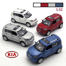 New 1:32 Diecast Kia Soul Model Car Children Metal Toys Gift With Openable Door Pull Back Flashing Function For Baby Toys Gifts(China)