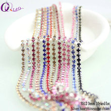 Big discount 10yards/lot boutique ss12(3mm) fashion findings multi color copper close silver base glitter DIY rhinestone chains