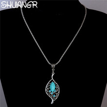 SHUANGR Tibetan Flower Leaf Pendant Necklace Natural Stone Long Necklace Sweater Chain Chunky Chains Statement Necklace Jewelry