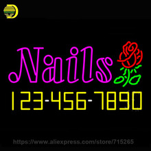 Neon Sign Pink Nails with Phone Number Neon Light Sign Neon Bulb handcraft Glass Tube Lamp Store Display Duty LED Light 37x20