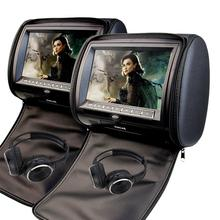 "Black 2pcs 9"" Headrest Monitor Car CD DVD Player Automotive+ LED Digital Screen GAME Pupug USB SD FM IR Free two headphones"