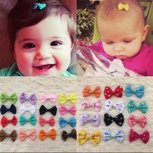 10 Pcs/ Lot random colors Mini Bow Hairgrips Sweet girls Solid  Dot/Stripe  Printing Whole Wrapped Hair Clips Kids Hairpins