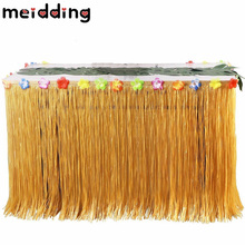 MEIDDING 1pcs Orange/Green Luau Grass Hula Table Skirt Table Runner DIY Birthday Wedding Halloween Pool Party Hawaii Party Decor(China)