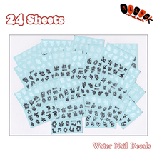 Nail Art 24Sheets/Lot Mixed 24 Different Black White Plum Nail Art Water Sticker Decal For Nail Art Decoration 24-07