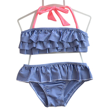 GI FOREVER Children Two Piece Suit Striped Print Swimwear 2018 Summer Girl Cute Halter Swimsuit Bathing Suit Maillot De Bai(China)