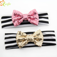 "10pcs/lot 4"" Cute Glitter Messy Sequin Bows With Black&White Stripe Elastic Headband For Girls And Kids Hairbow Headband"