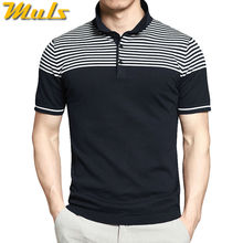 Polo men summer striped knitted short male polo China Qualtiy product sweater top tees breathable 4XL big size Muls brand 2840(China)
