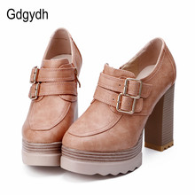 Gdgydh 2017 New Spring Autumn Thick High Heeled Pumps Woman Round Toe Lacing Female Platform Shoes Casual Office Lady Shoes 42