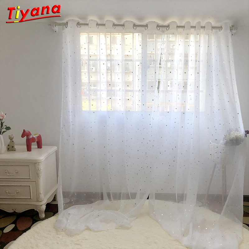 White Curtains Star Gauze screening Window Tulle Curtain Modern Fashion Fancy Tulle sitting room HOT SALE 2018 NEW WP234 *15