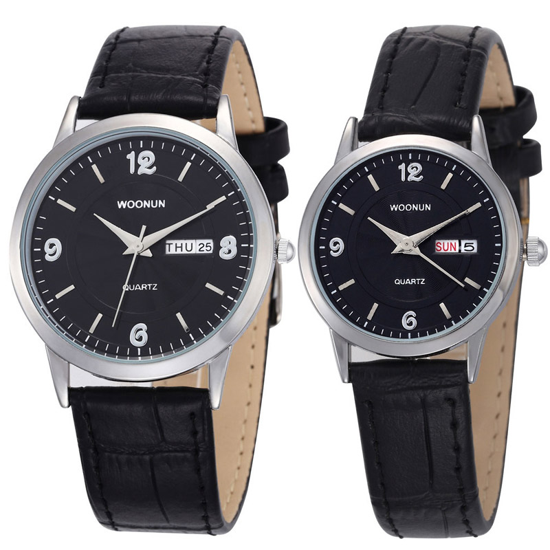 WOONUN Luxury Brand Ultra Thin Watches For Men Women Genuine Leather Strap quartz-watch Casual Lovers Watches Valentine Day Gift<br>