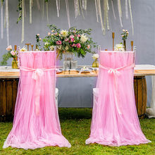 2PCS/Set 260*160cm Mesh Chair Covers for Weddings Pink Tutu Chair Shirt Hotel Banquet Party Decorations 2018 New Chair Cover(China)