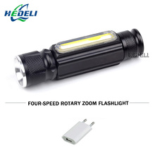 portable zoom flashlight xml t6 cob waterproof lampe torche USB work light lanterna LED linterna with Magnet electric torch(China)