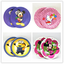 10pcs/bag Party Supplies Minnie Mickey Mouse/Hello Kitty/Minions Paper Cake Plate Kids Birthday Baby Shower Decoration Girls Boy