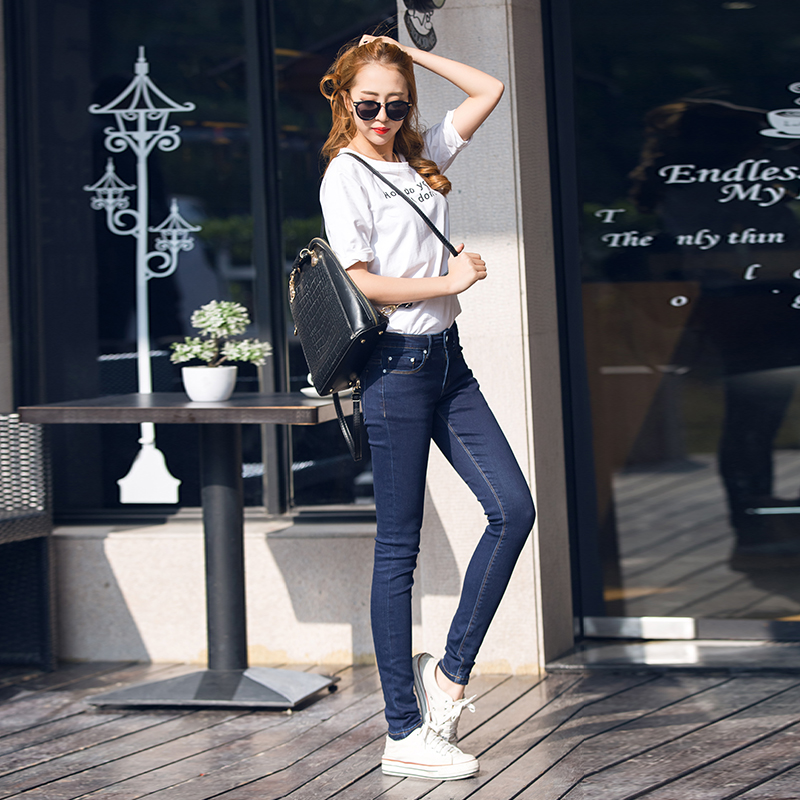 Fashion High Waist jeans Elastic  Women Jeans woman femme washed casual skinny pencil Denim pants Blue Size 25-32 YTN61007Одежда и ак�е��уары<br><br><br>Aliexpress